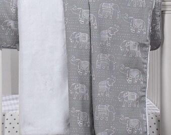 Elephants Minky Receiving Blanket | Gender Neutral Baby Blanket | Elephant Baby Bedding | Elephant Baby Blanket | Tribal Baby Blanket