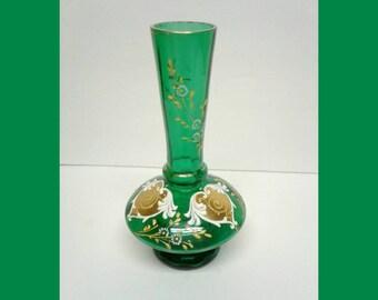 Antique Bohemian Emerald Vase