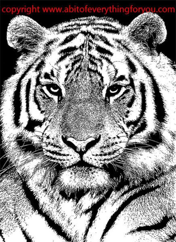 circus tiger head printable art animal clipart png digital download vintage image graphics black and white artwork