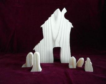 Haunted House Set, Unfinished Pine Cutout