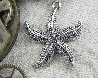 1 or 10, Starfish, Starfish Charm, beach Charm, Beach Wedding, Ocean Charms, Nautical Charms, Starfish Pendant, Silver Starfish, ANM006