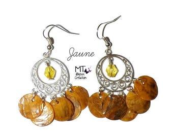 """Mother of Pearl yellow"" chandelier earrings"