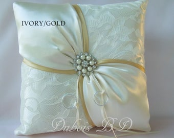 Gold ring bearer pillow, Wedding ring bearer pillow, Ivory ring pillow, Lace ring bearer pillow, Ivory and Gold ring pillow