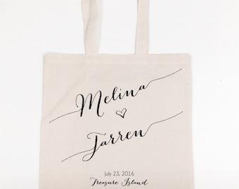 Reuseable Cotton Muslin Favor Bag Guest Bags Giveaway Custom Bride and Groom Names