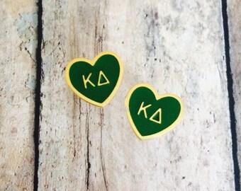 Kappa Delta Enamel Heart Stud Earrings | Sorority Earrings | Kappa Delta Earrings | KD Earrings | Enamel Earrings | Kaydee Earrings