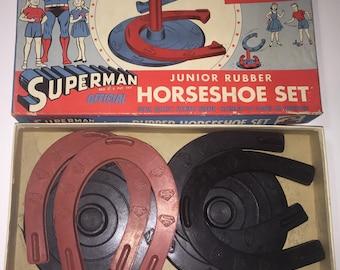 1940's Superman official Junior Rubber Horseshoe set - great box graphics!