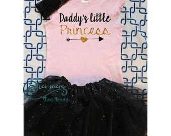 Daddy's little princess Shirt Gold Baby Girl Clothes Baby Girl Shirt Hipster Baby Clothes Baby Gift White And Gold Sleeves Daddys girl