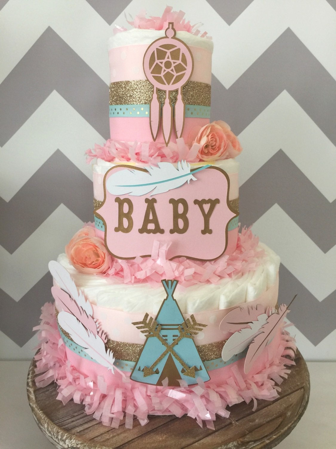 Tribal Baby Shower Centerpiece In Pink, Mint And Gold, Bohemian Baby Shower  Diaper Cake, Teepee