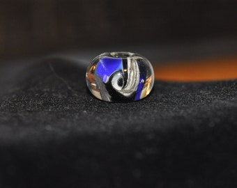 Blue and Silvered Lampwork Focal Bead