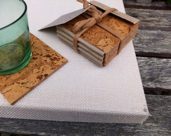 Eco friendly wine cork coasters, set of 4, Barware, cork drink coasters for your table; earth friendly decor; kitchenware and tableware