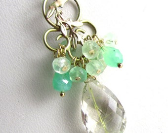 Mint Sky Necklace - Chrysoprase, Green Moonstone and Rutilated Quartz in Gold Fill