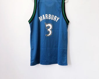 vintage stephon marbury minnesota timberwolves champion jersey youth size large 16-18 deadstock NWT 90s