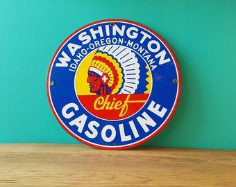 Vintage Washington Chief Gasoline Automotive Porcelain Sign