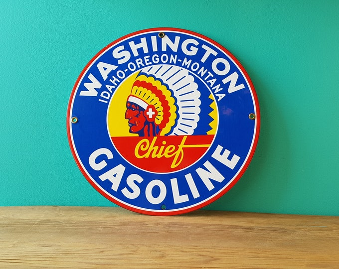 Vintage Washington Chief Gasoline Automotive Porcelain Sign