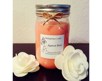 Apricot Rose Candle - Spring/Summer Scented Candle - Container Candle - Hand poured Natural Soy Wax - Mason Jar Candle (8 oz & 16 oz)
