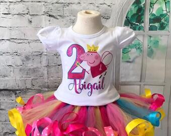 Peppa Pig birthday, Peppa Pig birthday shirt, Peppa Pig Birthday outfit, Peppa Pig Party, Peppa Pig shirt, Fairy peppa pig, rainbow tutu