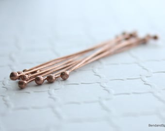 Copper Headpins, Ball End Headpins, 10 Double Ball End Head Pins