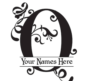 """MONOGRAM """"0"""" - Flourish with Initial and Names - Vinyl Decal"""