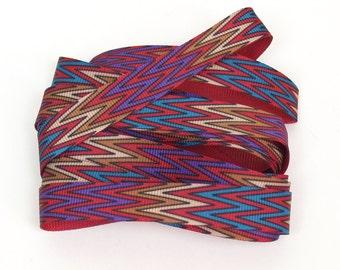 Zig Zag Ribbon 2 1/2 yds // 91 inches chevron flame stitch gross grain trim // 1970s red purple black brown teal