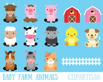Farm Baby Animals Clipart / Cute Animal Clipart / Barnyard Animals