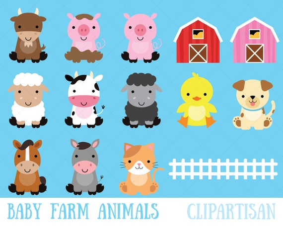 farm baby animals clipart cute animal clipart barnyard rh etsy com baby animals clipart png baby animal clip art pictures