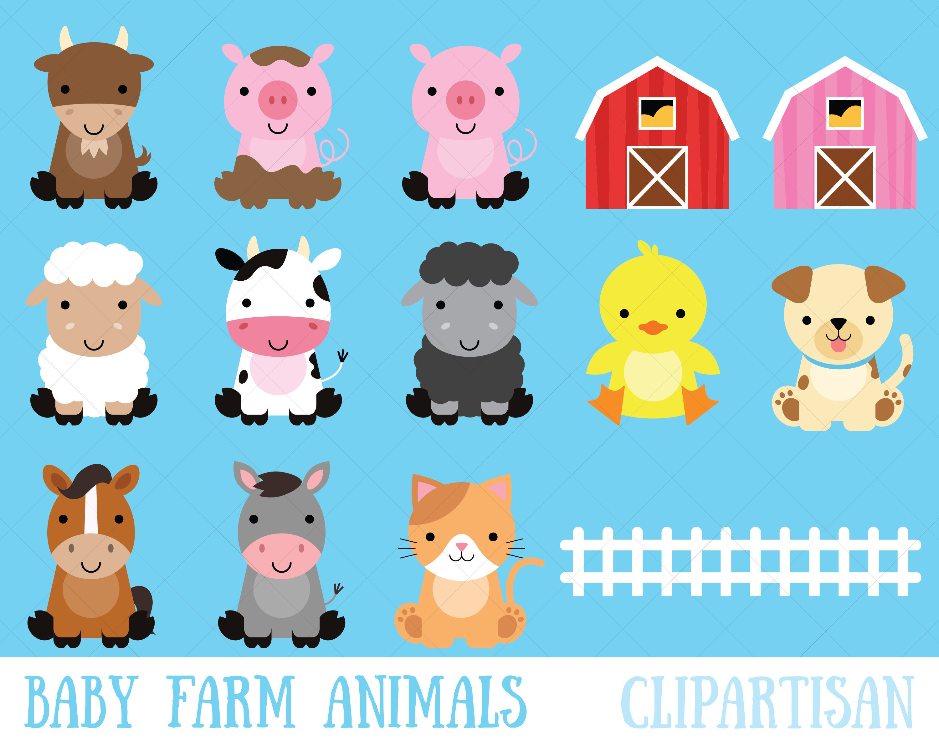 Farm Baby Animals Clipart / Cute Animal Clipart / Barnyard