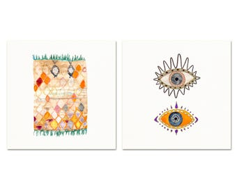 Boho Watercolor Art Prints Set. Boho Evil Eye & Rug Artwork. Wanderlust Decor. Moroccan Rug and Evil Eye Print Set. Modern Boho Dorm Art.