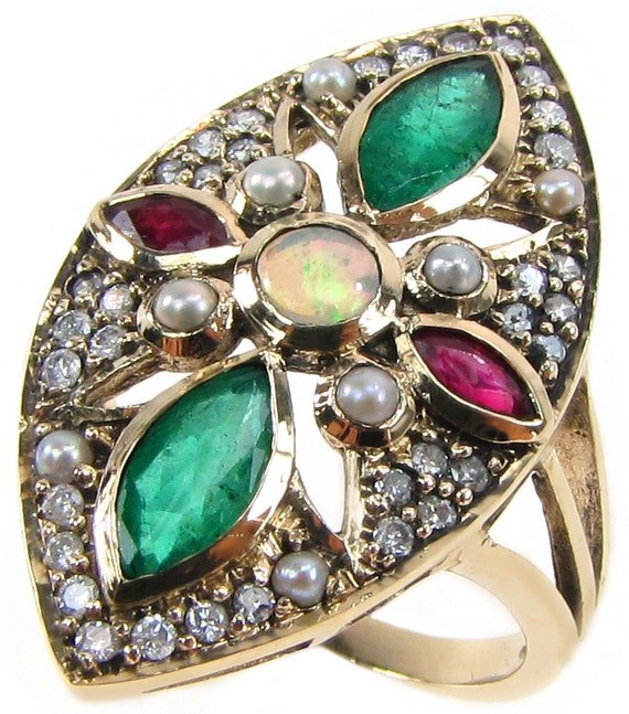 Antique Ruby Ring 10k Art Deco Emerald Flower Ring 9ct