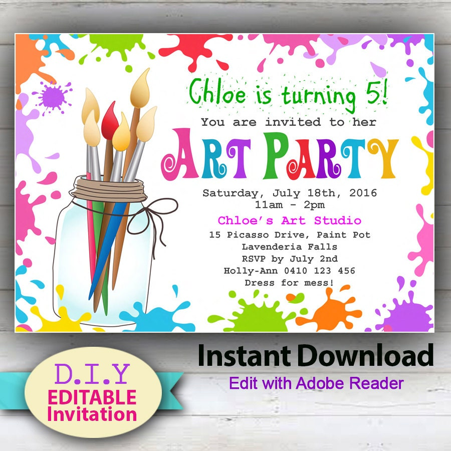 EDITABLE Printable D.I.Y. Art Party Invitation.