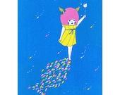 8×10 Art Print  -Fish in Space-