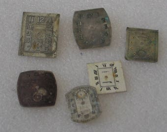 Selection of 6 Rectangular Assorted  Watch Faces Elgin Vendome