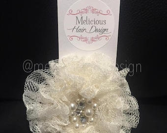 Parisian Lace Flower Clip/Headband - Ivory