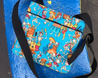 Blue Day of the Dead Dancing Skeleton Saddle Bag,  Crossbody Shoulder Bag, Lightweight Flat Cotton Print Messenger Bag