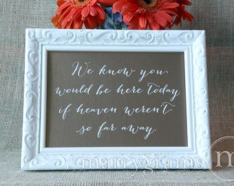 We Know You Would be Here Today if Heaven Weren't So Far Away -In Loving Memory Rustic Wedding Signage -Family Photo Table Sign- SS09