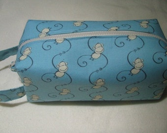 Funky Monkey Friends Surprise Embroidery Inside Cosmetic Bag Makeup Bag LARGE
