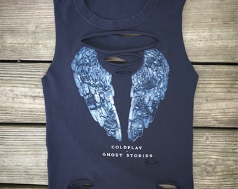 COLDPLAY Navy Blue Rebel Fray Custom Distressed Tank Top Shirt Women's S