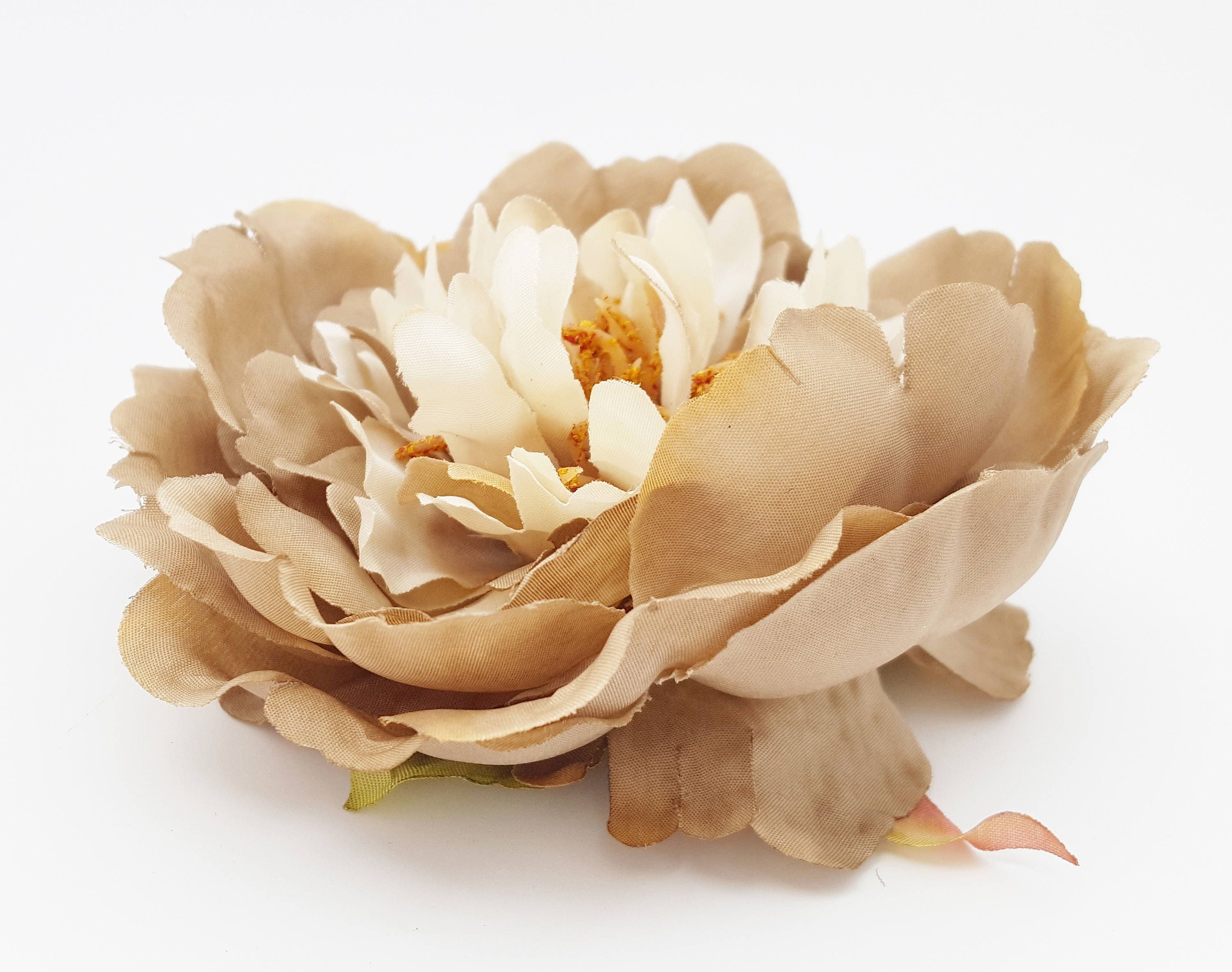 Taupe cream peony artificial silk flower head millinery flowers sold by thebluehutch mightylinksfo