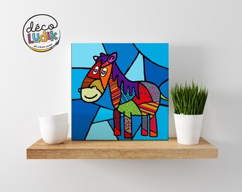 horse canvas print, horse canvas, wall art, kids room decor, nursery decor, art print, canvas print giclee, horse painting