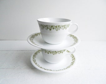 Set of 2 Vintage Pyrex Spring Blossom Cups & Saucers, Corelle Dinnerware, Green Flowers