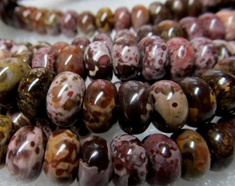 Jasper Beads 10 X 6mm Smooth Natural Chocolate Flower Jasper Multicolored Rondelles - 15 Pieces