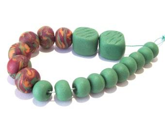 NOW ON SALE Handmade Polymer Clay Bead Set