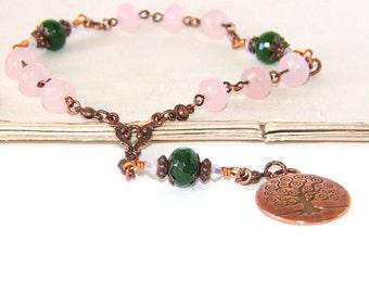 Prayer & Meditation Beads, Tree of Life Copper Medallion