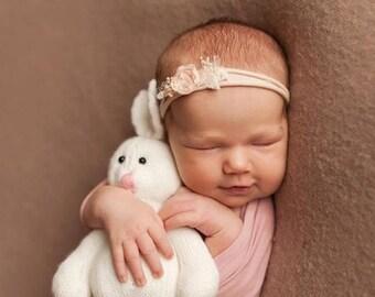 Light Pink Headband, Baby Girl Headband, Blush Pink Headband, Floral Headband,  Photo Prop, Newborn Props, Baby Props