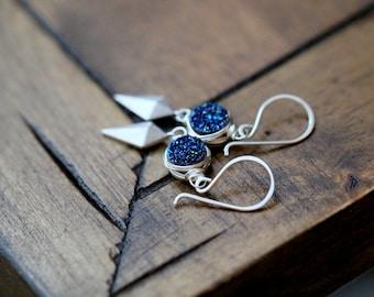 Druzy Drop Earrings, Raw Gemstone Arrowhead Dangle Earrings , Blue Druzy Modern Jewelry , Silver or Gold - Stiletto