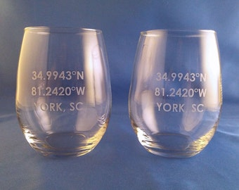 Your Own Coordinate Stemless Wine Glass, Set of 2, Coordinates, Personalized Wine Glass, Personalized Stemless Glass, Stemless Wine