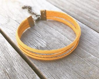 3 Stranded Mustard Leather Adjustable Bracelet