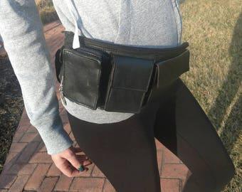 Vintage leather fanny pack, biker fanny pack, leather fanny pack