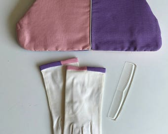 Vintage Colorblock Clutch Bag/ Gloves/ Tote/ PInk/ Purple/ Gold Harware