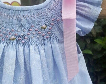 Baby blue dress, floral country baby dress, vintage baby dress, perfect for summer time. Princess baby dress. Handmade dress, smocked dress