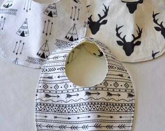 Baby bibs - baby bib - drool bib - Tribal bibs - Arrow bib - Deer bibs - Buck forest bib - Black and white bib - Teepee bib - Woodland bib
